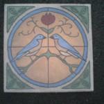 "Blue Birds 9"" square center bottom detail"