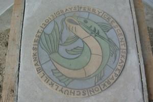 """close up of marker tile 16"""" diameter"""
