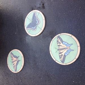 """3 Native Butterflies 16"""" diameter"""