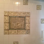 Installation of custom mosaic and Tile's by Eric Boynton in existing shower surround