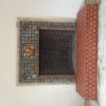 Moravian tile fireplace surround and hearth in new Hope Pennsylvania